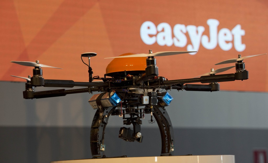 easyJet  Innovations event at Milan Malpensa Airport,Italy. Drone
